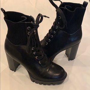 Platform combat ankle booties lace up boots